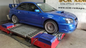 Subaru on dyno rolling road